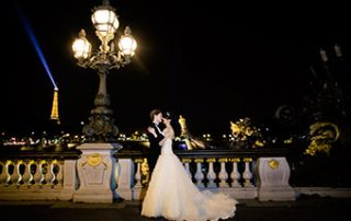 Happy couple eloping in Paris
