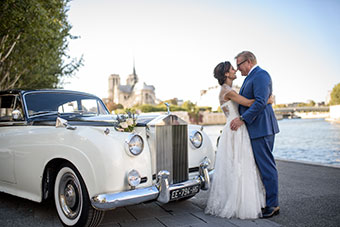 Intimate elopement in front of NotreDame in Paris, France