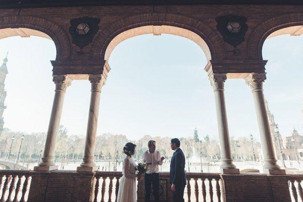 Beautiful elegant elopement celebration in Plaza España, Seville