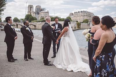 Happy couple renewing vows in Paris