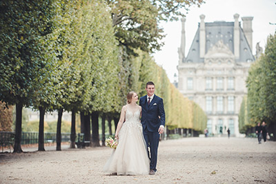 Happy couple renewing vows in Paris